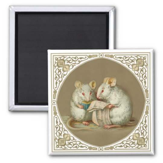 Two Anthropomorphic White Mice Reading Paper Magnet