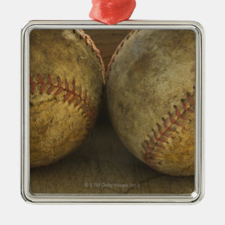 Two antique baseballs Silver-Colored square decoration