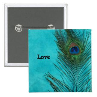 Two Aqua Peacock Feathers 15 Cm Square Badge