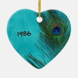Two Aqua Peacock Feathers Ceramic Heart Decoration