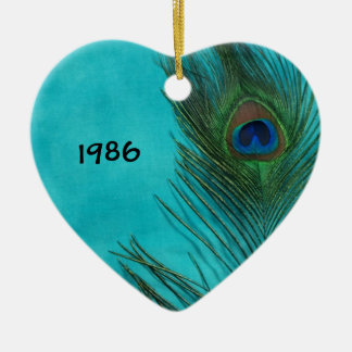 Two Aqua Peacock Feathers Christmas Ornament
