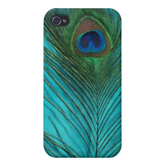 Two Aqua Peacock Feathers iPhone 4/4S Case