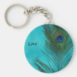 Two Aqua Peacock Feathers Basic Round Button Key Ring