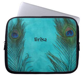 Two Aqua Peacock Feathers Laptop Sleeve