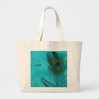 Two Aqua Peacock Feathers Large Tote Bag