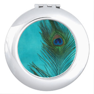 Two Aqua Peacock Feathers Makeup Mirror