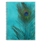 Two Aqua Peacock Feathers Notebook