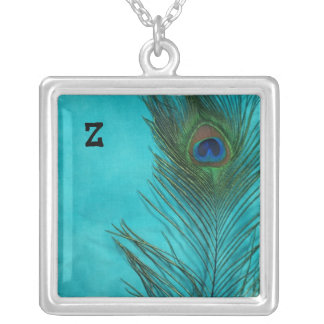 Two Aqua Peacock Feathers Silver Plated Necklace