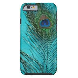 Two Aqua Peacock Feathers Tough iPhone 6 Case