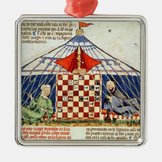 Two arabs playing chess in a tent christmas ornament