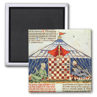 Two arabs playing chess in a tent refrigerator magnet