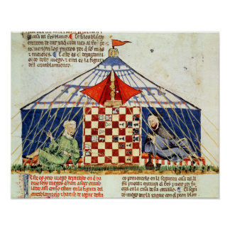Two arabs playing chess in a tent poster
