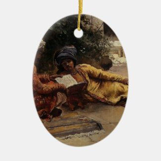 Two Arabs Reading by Edwin Lord Weeks Christmas Ornament
