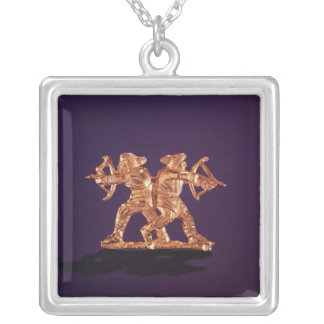 Two archers silver plated necklace