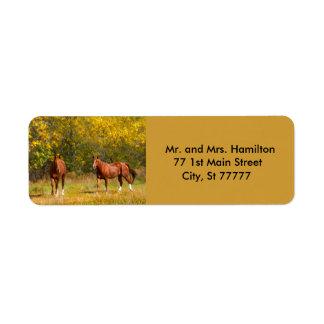 Two Autumn Chestnut Horses