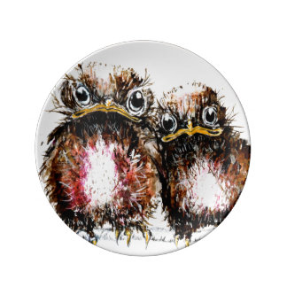 Two baby birds illustrated plate