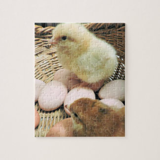 Two Baby Chickens in a Basket of Eggs Jigsaw Puzzle