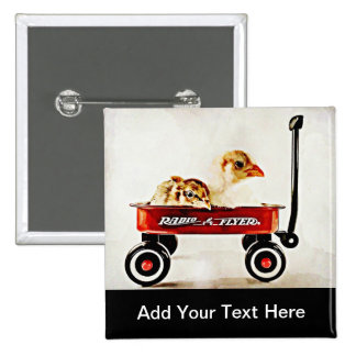 Two Baby Chicks in Red Wagon 15 Cm Square Badge