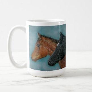 Two baby horses black foal chestnut foal portrait basic white mug