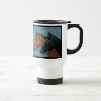 Two baby horses black foal chestnut foal portrait stainless steel travel mug