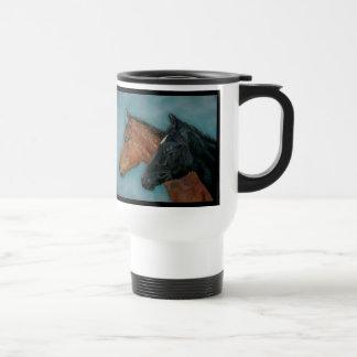 Two baby horses black foal chestnut foal portrait stainless steel travel mug
