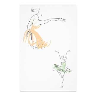 Two Ballerinas Drawn Stationery