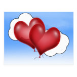 Two Balloon Hearts With Cloud