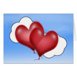 Two Balloon Hearts With Cloud Greeting Card