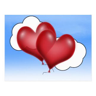 Two Balloon Hearts With Cloud Post Cards