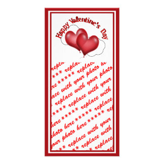 Two Balloon Hearts With Cloud Valentine Photo Card