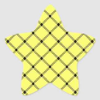 Two Bands Small Diamond-Black on Unmellow Yellow Star Sticker