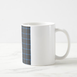 Two Bands Small Square - Azure on Black Coffee Mug