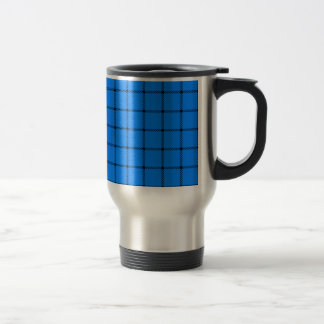Two Bands Small Square - Black on Azure Stainless Steel Travel Mug