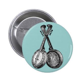 Two Banjos 6 Cm Round Badge
