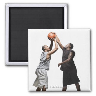 Two basketball players square magnet