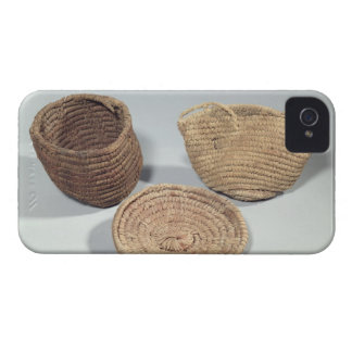 Two baskets and a cover (woven palm fronds)