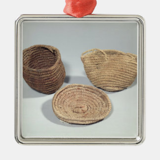 Two baskets and a cover (woven palm fronds) christmas ornament
