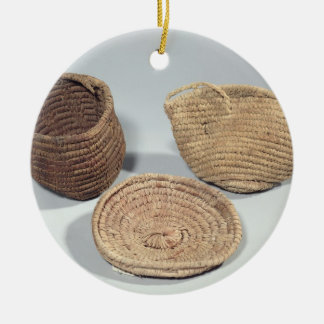 Two baskets and a cover (woven palm fronds) round ceramic decoration