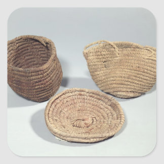 Two baskets and a cover (woven palm fronds) square sticker