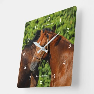 Two Beautiful Chestnut Horses in the Sun Square Wall Clock