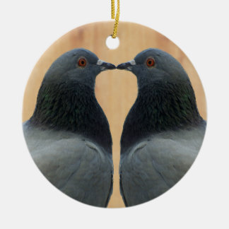 Two Beautiful Pigeons Kissing Round Ceramic Decoration