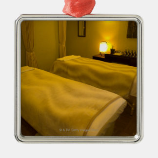 Two beds in the beauty salon, high angle view, christmas ornament