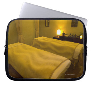 Two beds in the beauty salon, high angle view, laptop sleeve