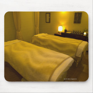 Two beds in the beauty salon, high angle view, mouse pad