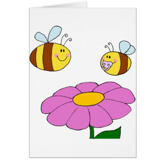 Two Bees And A Flower Greeting Cards