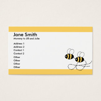 Two Bees and Yellow Borders Parent Calling Card