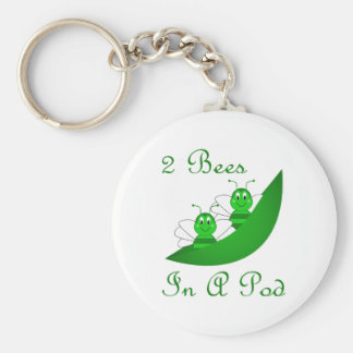 Two Bees In A Pod Keychain