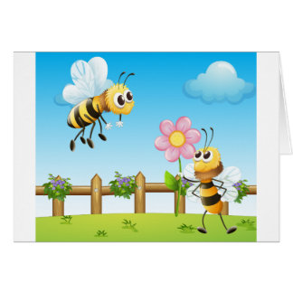 Two bees inside the wooden fence greeting card