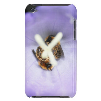 Two bees sleeping in a purple flower iPod touch cover