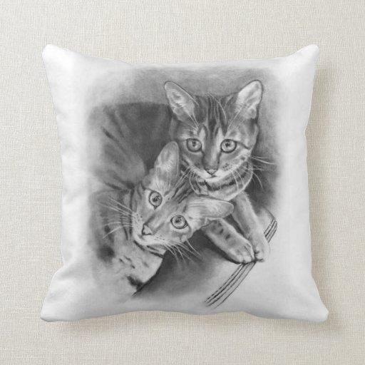 Two Bengal Cats: Original Realism Pencil Drawing Throw Pillows